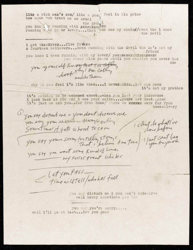 Bob Dylan's Blonde on Blonde manuscript. Photograph: Sotheby's/PA Wire