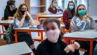 Pupils attend classes in Prague, Czech Republic. The government there has begun further easing the restrictive measures to slow down the spread of Covid-19. Photograph: Gabriel Kuchta/Getty