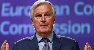 "Brexit negotiator Michel Barnier: ""We are negotiating on behalf of the entire EU. There must be a proper balance of rights and obligations."" Photograph: Olivier Matthys"
