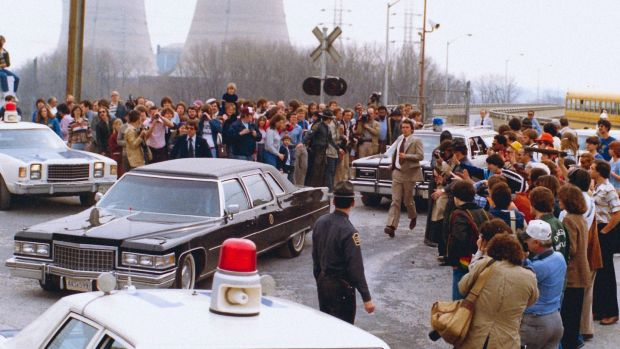 US president Jimmy Carter's motorcade leaves Three Mile Island nuclear power station after the accident on April 1st, 1979. Photograph: Courtesy of the National Archives at College Park