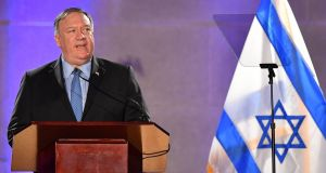 US secretary of state Mike Pompeo: Israeli visit is his first international trip since the outbreak of the coronavirus pandemic. Photograph: Mandel Ngan/AFP via Getty Images