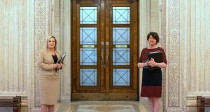First Minister Arlene Foster (R) and Deputy First Minister Michelle O'Neill at Stormont on May 7th. Photograph: Liam McBurney/PA Wire