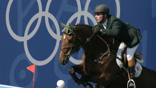 Cian O'Connor clears a jump on Waterford Crystal on the way to victory in Athens. Photograph: Reinhard Krause/Reuters