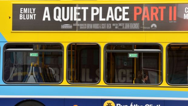 The Dublin Bus poster for A Quiet Place Part II seen in April, long after cinemas had closed. The Irish ad market is expected to fall 30 per cent in 2020. Photograph: Alan Betson/The Irish Times