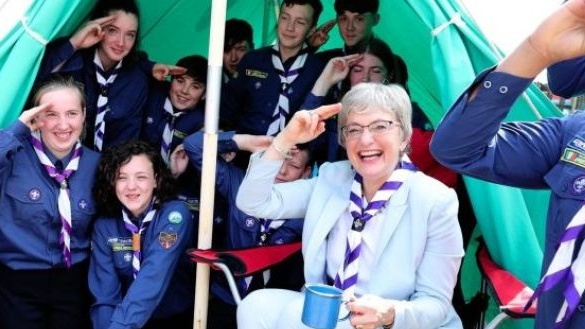 Katherine Zappone at 168th St Aengus Scout Den, Tallaght in 2018.