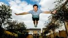 Olympic diver Oliver Dingley training at his apartment complex. Photograph: James Crombie/Inpho
