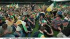 Offaly supporters stage a sit-down protest after the 1998 All-Ireland SHC semi-final at Croke Park  against Clare was blown up early. Photograph: James Meehan/Inpho