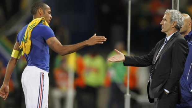 Thierry Henry shakes hands with France coach Raymond Domenech after their World Cup game against South Africa at Free State stadium in Bloemfontein in June, 2010. Photograph: Charles Platiau/Reuters