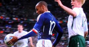 A videograb of Thierry Henry's handball that led to William Gallas's goal during the World Cup playoff, second leg against the Republic of Ireland   at the Stade de France in November 2009. Photograph: Sky Sports