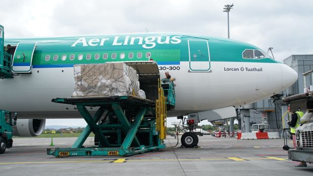 A shipment of PPE arrives from China to Dublin Airport. Photograph: Enda O'Dowd
