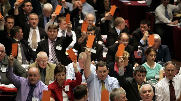 Delegates vote to have a secret vote on Rule 42 during the GAA Congress at Croke Park in 2005. Photograph: Tom Honan/Inpho