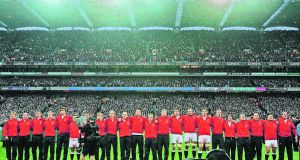 The England team sing God Save the Queen prior to the Six Nations game against Ireland at Croke Park in February 2007. Photograph: Peter Muhly/AFP/Getty Images