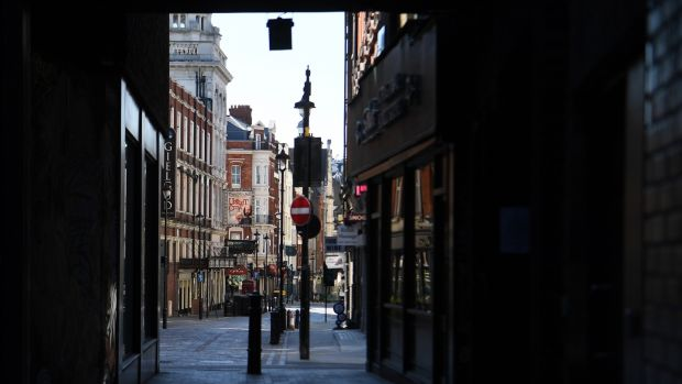 Irish backstop - A deserted Soho in London. Photograph: Andy Rain/EPA