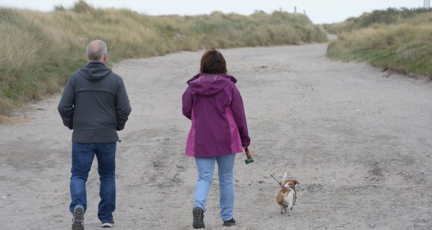Dog walkers at Dollymount Strand. Photograph: Alan Betson