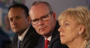 Simon Coveney (C) has said a no-deal Brexit is now a risk. File photograph: Damien Eagers/The Irish Times