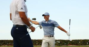 Rory McIlroy and Dustin Johnson were victorious as live golf returned in Florida. Photograph: Mike Ehrmann/Getty