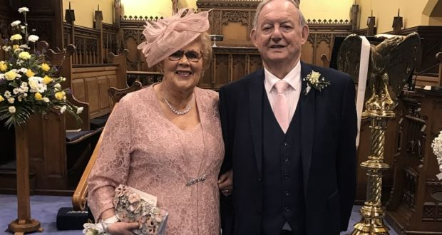 John Hobson with his wife, Queenie, at their daughter Caroline's wedding last year