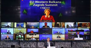 President of the European Commission Ursula von der Leyen takes part in a video conference with other EU leaders.