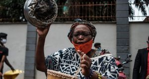Stella Nyanzi: poet organised a protest for more food distribution to people financially struggling in the nationwide lockdown to curb coronavirus. Photograph: Sumy Sadurni/AFP