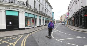 A quiet Eglinton Street in Galway city centre on Monday. Photograph: Joe O'Shaughnessy.
