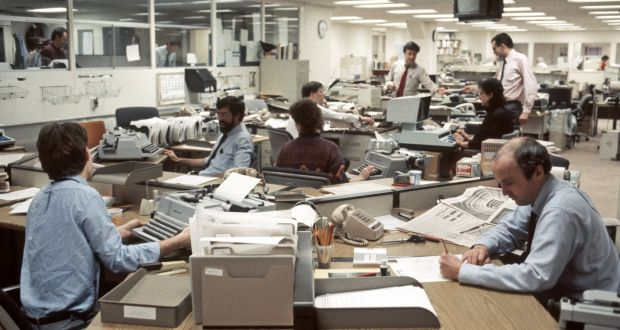 The Wall Street Journal newsroom in the 1980s. Photograph: Allan Tannenbaum/Getty Images
