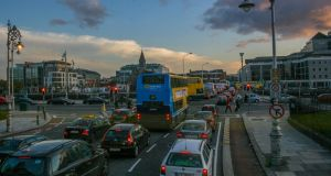 Dublin during a normal rush hour. Each week the school run requires Irish parents to drive 7 million km. Photograph: Getty Images