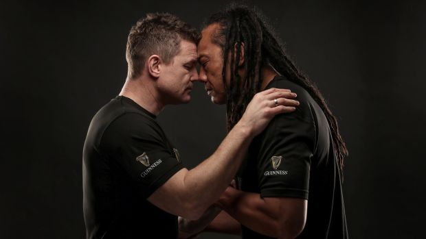 Brian O'Driscoll and Tana Umaga meet up ahead of the November international between Ireland and New Zealand in 2018. Photograph: Dan Sheridan/Inpho