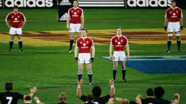 Brian O'Driscoll and team-mates face the Haka during the first Test of the 2005 Lions series against New Zealand in Christchurch. Photograph: Photograph: Shaun Botterill/Getty Images