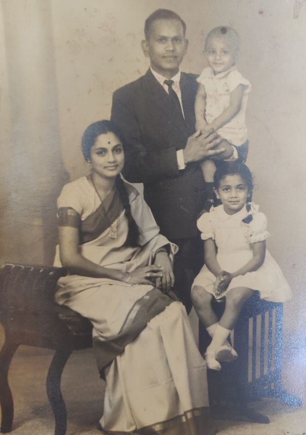 Cauvery Madhavan and her mother Bollu seated next to her. Her father Guru is holding her brother Ranesh. (Taken in 1966)