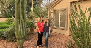 Leslie Thompson and her daughter Sali at their house in Phoenix, Arizona