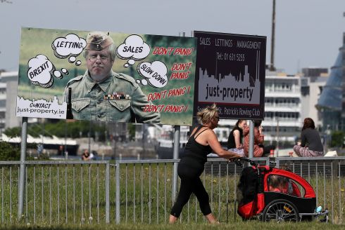 BATTLING BORIS: A billboard ad for an estate agent in Dublin shows British prime minister Boris Johnson as Dad's Army character Lance Corporal Jones. Photograph: Brian Lawless/PA Wire