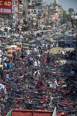 EID RUSH: A traffic jam outside the Raja Bazar ahead of the Eid al-Fitr festival in Rawalpindi, Pakistan. Photograph: Farooq Naeem/AFP via Getty