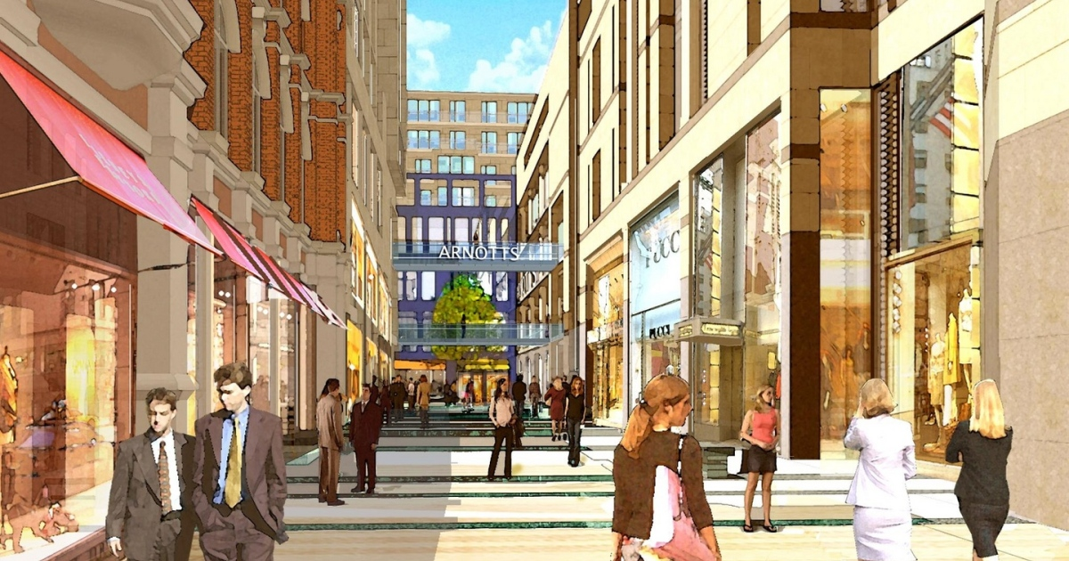 Artist impression of the planned new shopping, entertainment and residential zone called the Northern Quarter. File photograph: Q4PR/PA Wire
