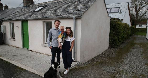 David Shannon, Susie Dillon and their daughter, Olive, and dog Bonnie. Photograph: Nick Bradshaw