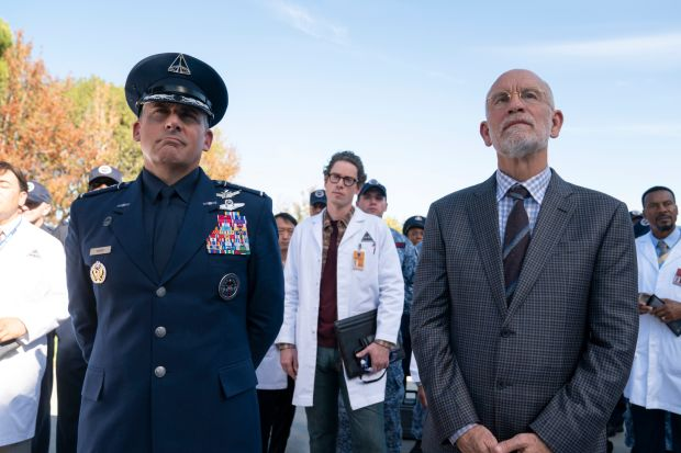 Space Force: John Malkovich with Steve Carell in the new satire. Photograph: Netflix