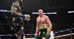 Tyson Fury (right) during a contest in Los Angeles in December 2018. Daniel Kinahan is working to put in place a fight in the Middle East between Fury and Anthony Joshua for the world heavyweight title. File photograph: Lionel Hahn/PA Wire