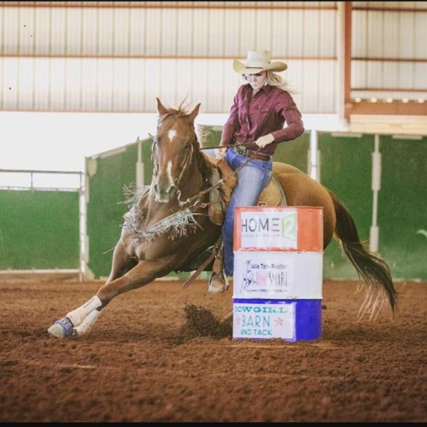 Leslie Thompson's daughter Sali competing in a barrel race at a rodeo in Arizone.