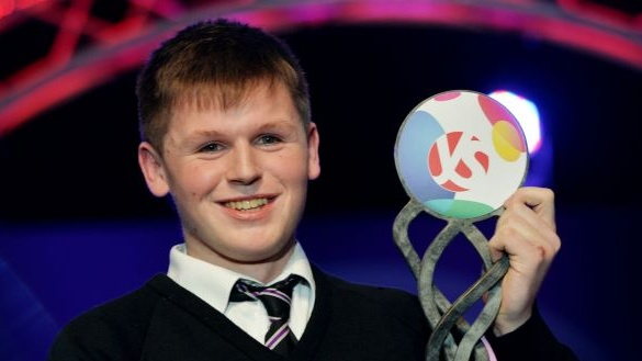 Shane Curran taking top prize in the Young Scientist competition in 2017 when he was 17 years of age.