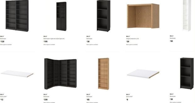 Fast furniture: Billy bookcases on the Ikea website; they start at €19