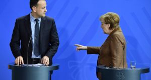 German chancellor Angela Merkel and Taoiseach Leo Varadkar. Photograph: Tobias Schwarz/AFP/Getty