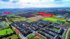 An aerial view of  the 5.4 acre land holding's location beside the Swords Road in Dublin.