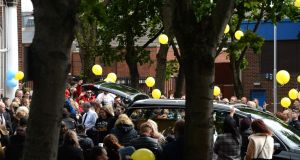 People attend the funeral of Matthew Corrigan, (DJ Matt) at Our Lady of Lourdes Church, Sean McDermott Street, Dublin on Saturday. Photograph: The Irish Times