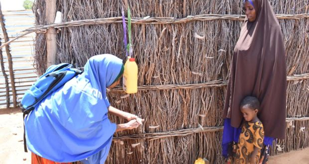 Trócaire teaching hygiene practices to prevent the spread of COVID-19 in Somalia. Photograph: Trócaire