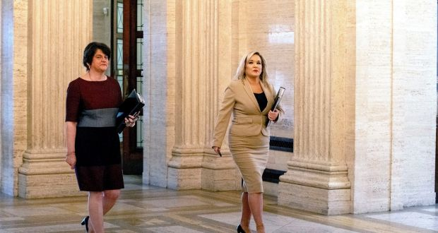 First minister Arlene Foster (left) and Deputy First Minister Michelle O'Neill walk together as they arrive at Stormont. File photograph: Liam McBurney/PA Wire