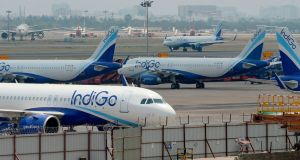 A Indigo aircraft approaches to take off from Anna International Airport after the government eased a nationwide lockdown imposed as a preventive measure against the COVID-19 coronavirus, in Chennai on May 24th. Domestic air travel will resume in India on Monday. Photograph: ARUN SANKAR/AFP via Getty Images