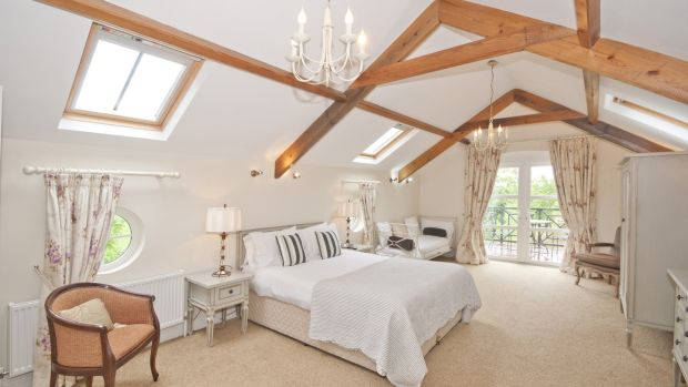 The Old Boley boasts a vaulted roof in the master bedroom that opens out to a balcony.
