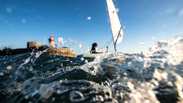 Annalise Murphy on the water in Dún Laoghaire just before lockdown. Photo: Bryan Keane/Inpho