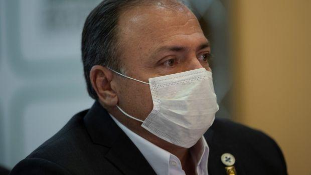 Brazil's interim health minister, Eduardo Pazuello. Photograph: Joedson Alves/EPA