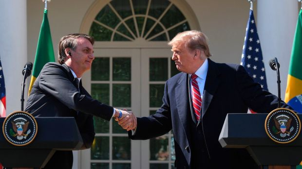 Jair Bolsonaro with Donald Trump in the Rose Garden at the White House in Washington on Mardh 19th. Photograph: Jim Watson/AFP via Getty Images