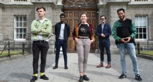 Domhnall Herdman, Clinton Liberty, Megan McDonnell, Ross Gaynor and Kwaku Fortune, who all studied at the Lir National Academy of Dramatic Art in Trinity College, Dublin, and appeared in TV series Normal People. photograph: Dara Macdónaill/The Irish Times